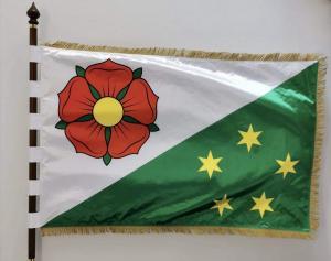 slavnostní tištěná saténová vlajka obce Netřebice